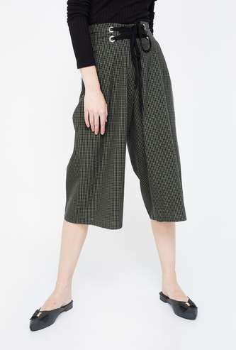 GINGER Checked High-Waist Culottes