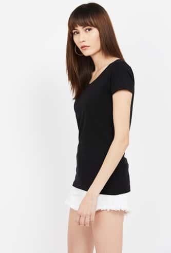 GINGER Solid Regular Fit T-shirt