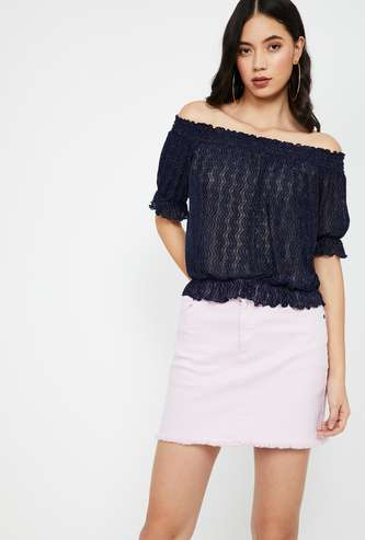 GINGER Textured Lurex Off-shoulder Top