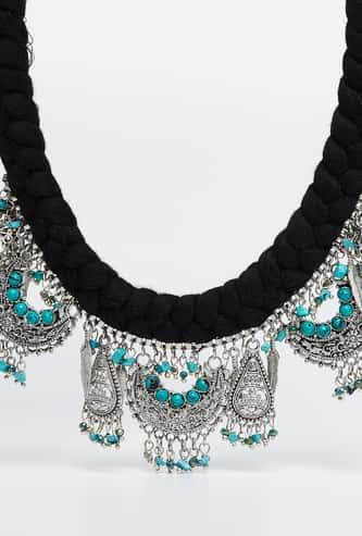 MELANGE Crescent-Shaped Pendant Beaded Necklace