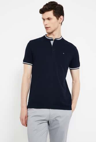 CELIO Solid Slim Fit Band Collar T-shirt