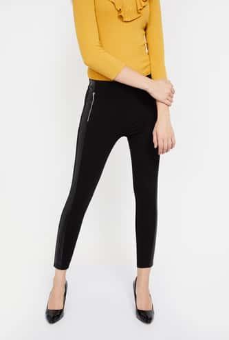 GINGER Solid Zip Detailed Skinny Pants