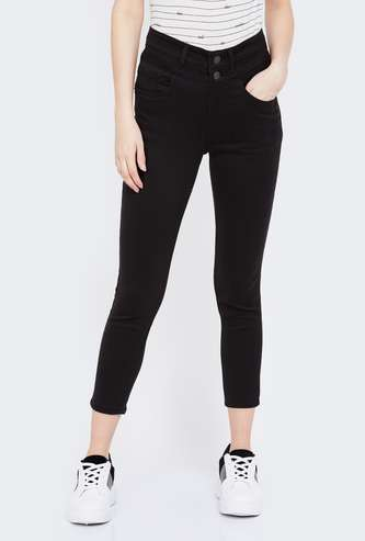 JEALOUS 21 Solid High Waist Cropped Jeans