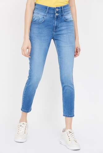 JEALOUS 21 Stonewashed Regular Fit Cropped Jeans