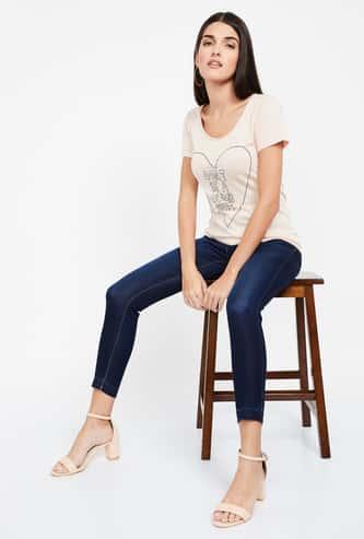 JEALOUS 21 Dark Washed Skinny Cropped Jeans