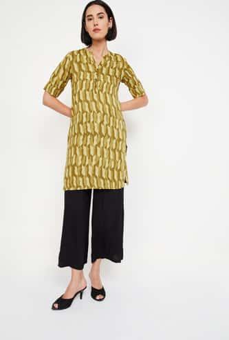 GLOBAL DESI Roll-Up Sleeves Printed Tunic