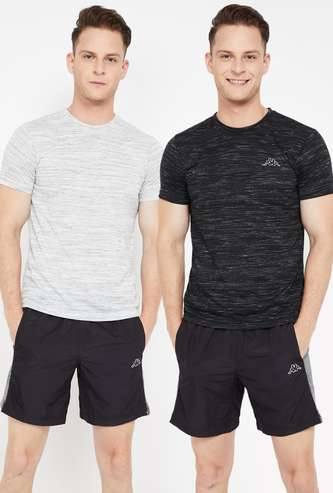 KAPPA Textured Crew Neck Regular Fit T-shirt- Set of 2 Pcs.