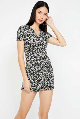 GINGER Floral Print V-neck Playsuit