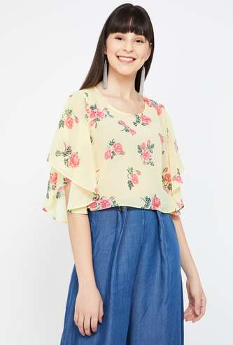 GINGER Cape Sleeves Floral Print Regular Fit Crop Top
