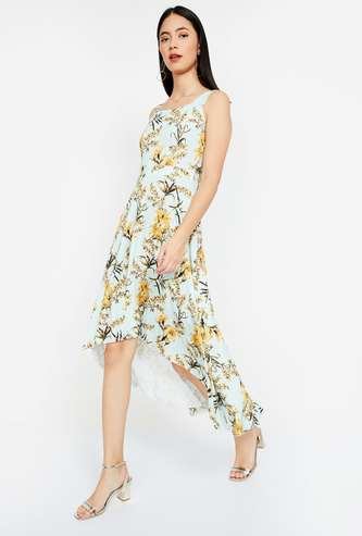 CODE Floral Print High-Low A-line Dress