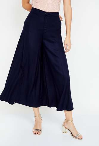 CODE Solid High-Rise Culottes with Insert Pockets