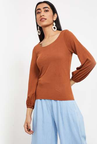 CODE Cuffed Sleeves Textured Regular Fit Top
