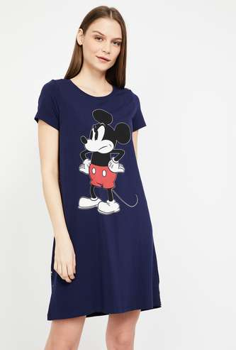 GINGER Mickey Mouse Print Cap Sleeves Chemise