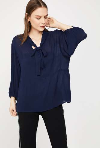 FAME FOREVER Solid Regular Fit Tie-Up Neck Top