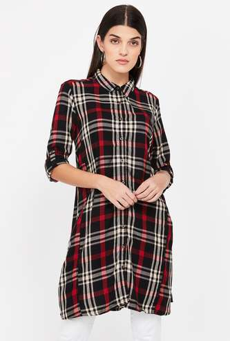 FAME FOREVER Checked Button-Down Tunic