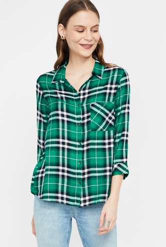 FAME FOREVER Checked Regular Fit Casual Shirt