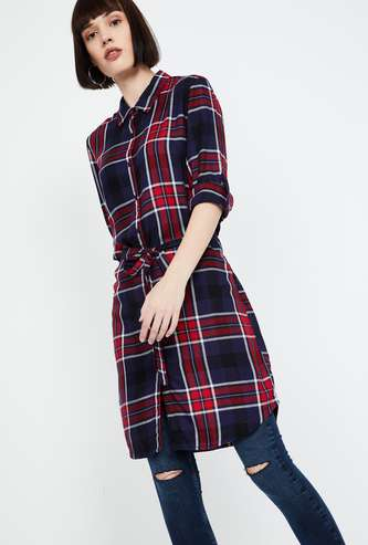 FAME FOREVER Checked Rolled-Up Sleeves Regular Fit Tunic