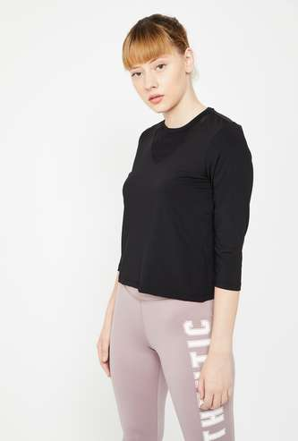 KAPPA Solid Round Neck Regular Fit Kooltex Knitted Top
