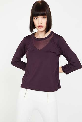 KAPPA Round Neck Kooltex Top with Sheer Panel
