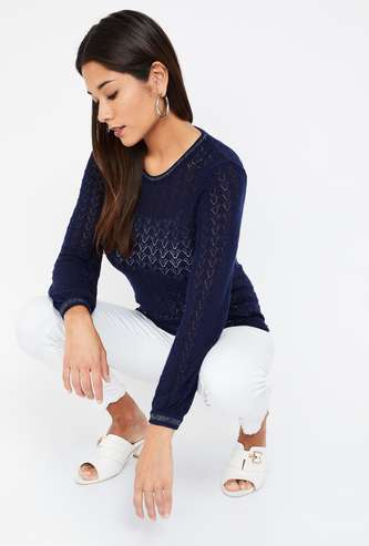BOSSINI Round Neck Patterned Knit Regular Fit Sweater