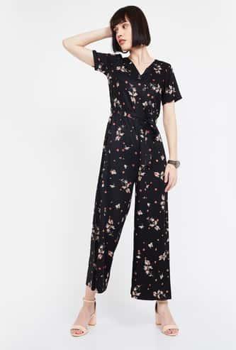 CODE Surplice Neck Floral Print Jumpsuit