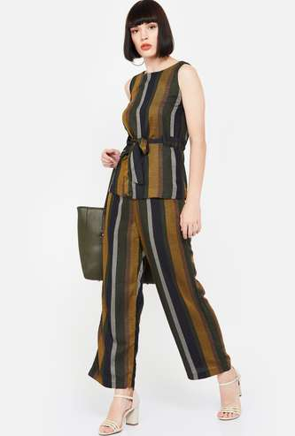 CODE Striped High-Rise Palazzos
