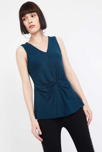 CODE Solid V-neck Sleeveless Regular Fit Ruched Top