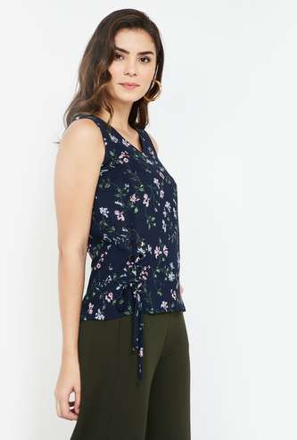 CODE Floral Print Regular Fit Tie-Up Detailed Top