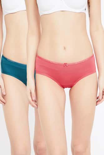 ENAMOR Solid Knitted Hipster Panties- Pack of 2