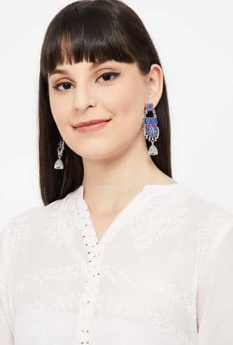 MELANGE Floral Accent Embellished Drop-Earrings