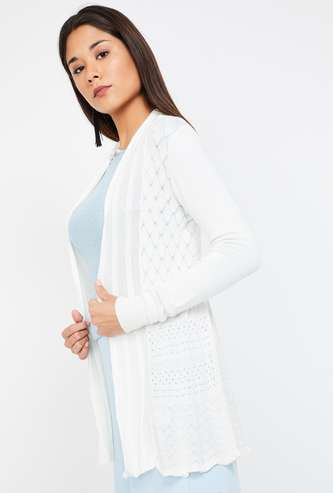 CODE Textured Full Sleeves Shrug