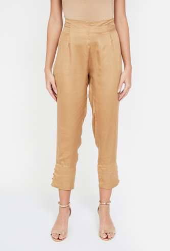 MELANGE Solid Slim Fit Straight Pants