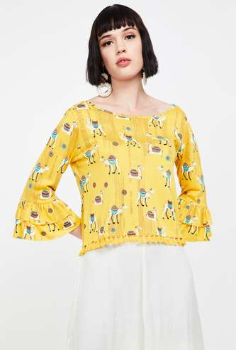 COLOUR ME Printed Top with Tassels