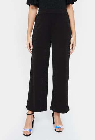 GINGER Speckled Ankle-Length Regular Fit Palazzo Pants