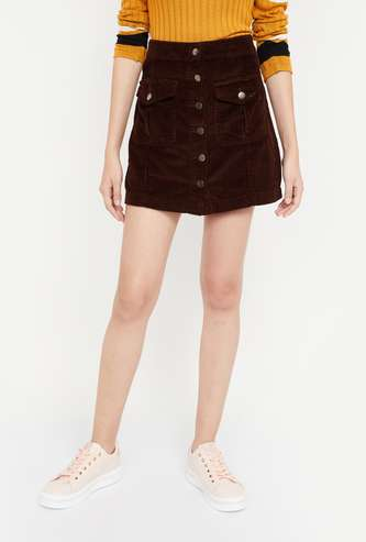GINGER Solid Regular Fit Corduroy Mini Skirt