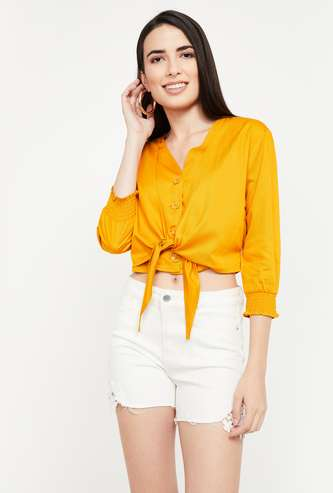 GINGER Solid Regular Fit Tie-Up Top