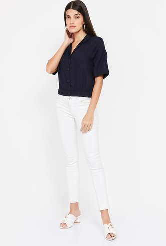 GINGER Notched Neck Regular Fit Drop-Shoulder Shirt