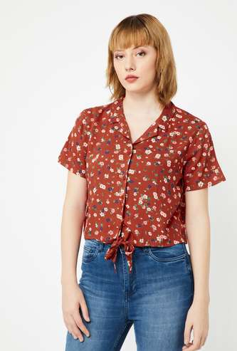 GINGER Floral Print Regular Fit Shirt with Tie-Up Hemline