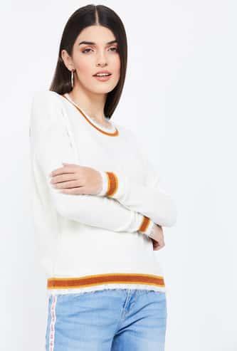 GINGER Textured Full Sleeves Regular Fit Sweater