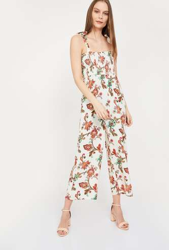 GINGER Printed Pinafore Jumpsuit with Smoked Detail