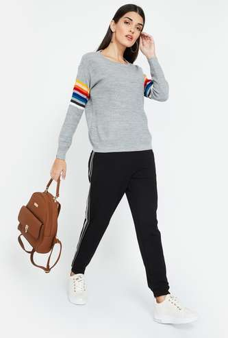 FAME FOREVER Solid Round Neck Regular Fit Sweater