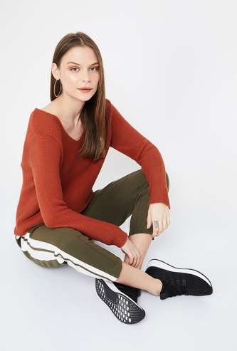 FAME FOREVER Textured Full Sleeves Regular Fit Sweater