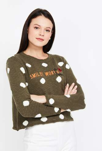 SMILEY Embroidered Regular Fit Round Neck Sweater