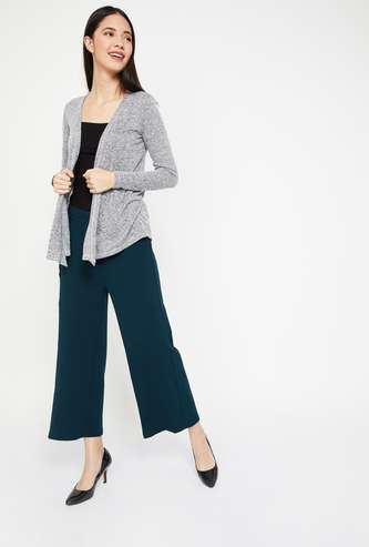 CODE Solid High-Waist Cropped Palazzos