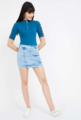 GINGER Heavily Washed Denim Skirt