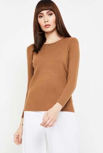 CODE Embellished Round Neck Sweater