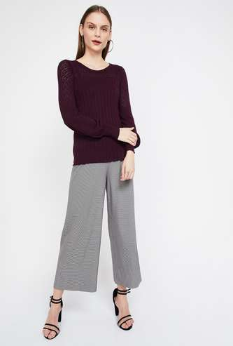 CODE Textured Knit Cuffed Long Sleeves Sweater