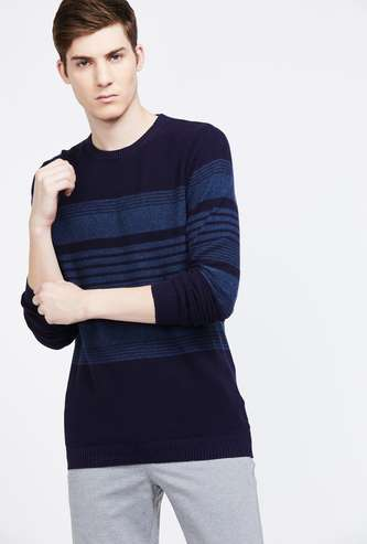 CODE Striped Full Sleeves Regular Fit Sweater