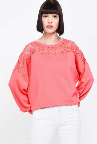 BOSSINI Lace-Detailed Round Neck Regular Fit Sweater