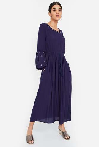 COLOUR ME Embellished Bell Sleeves Midi Dress